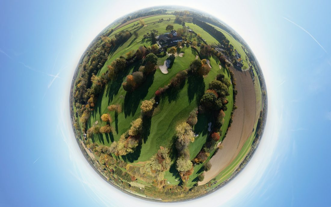 Kugelbild Panorama Little Planet Luftbildaufnahme Luftbild Drohne UAV Flugroboter Moers NRW